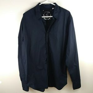 Guess Long Sleeve Button Up Shirt Black Embroidery